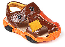Doink Sandals Faux Leather Designer Strap - Brown and Orange