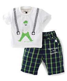 Active Kids Wear T-Shirt And Shorts Set Charlie Chaplin - White Navy And Green