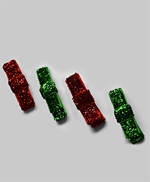 4 Piece Snap Clip Set - Green & Red