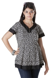 Morph Printed Maternity Top - Black