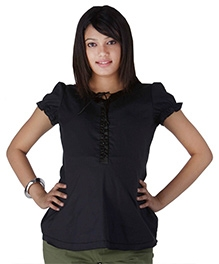 Morph Puff Sleeves Plain Black Casual Maternity Top