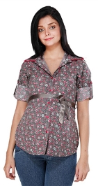 Morph Casual Dressy Floral Nursing Top - Grey