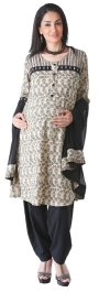 Morph Traditional Kameez With Salwar And Dupatta - Beige