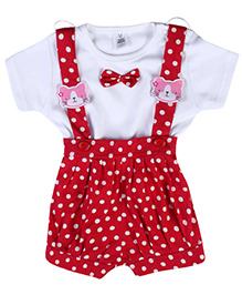 ToffyHouse Dungaree With T-Shirt Red And White - Polka Dots