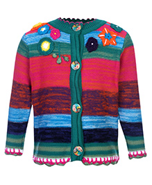 Peridot Cardigan Full Sleeves Front Open Multicolor - Floral Applique