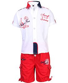 Active Kids Wear Shirt And Shorts Set - Aircraft Embroidery