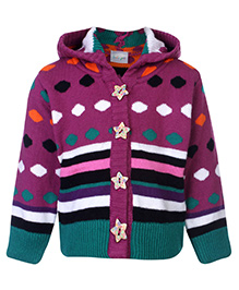 Peridot Sweater Full Sleeves Front Open Multicolor - Dot and Stripe Theme