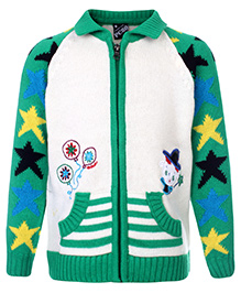 Peridot Zippered Sweater Floral Embroidery - Star Theme