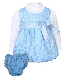 Little Kangaroo Sleeveless Frock With Full Sleeve Inner T-Shirt - Sky Blue