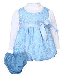 Little Kangaroo Sleeveless Frock With Full Sleeve Inner T-Shirt - Sky Blue