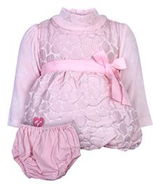 Little Kangaroo Sleeveless Frock With Full Sleeve Inner T-Shirt - Pink