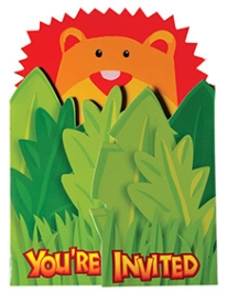 Wanna Party Jungle Animal Jumbo Invitation Cards - Set of 8