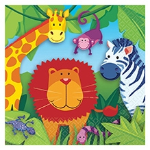 Wanna Party Jungle Animal Lunch Napkin - Set of 16