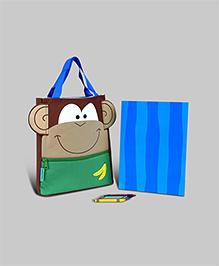 Stephen Joseph Monkey Art Totes - Brown