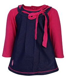 Little Kangaroos Yoke Pattern Frock With Inner T-Shirt