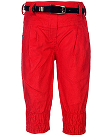 Little Kangaroos Gathered Pattern Corduroy Trouser With Belt