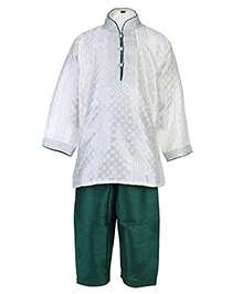 Babyhug Full Sleeves Pintex Kurta With Pathani - White And Green