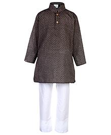 Babyhug Full Sleeves Kurta And Pajama Set Rhombus Print - Grey And White