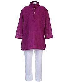Babyhug Full Sleeves Kurta And Pajama Set - Dark Purple