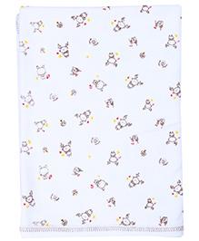 Pink Rabbit Baby Towel White - Rabbit Print