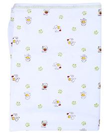 Pink Rabbit Baby Towel White - Bear Print