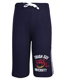 Taeko Drawstring Bermuda Shorts Navy Blue - Tough Guy Print