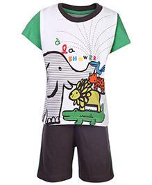 Pink Rabbit Half Sleeves T-Shirt And Shorts Set - Elephant Print