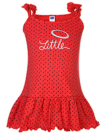 Teddy Singlet Frock Dotted And Little Print - Red