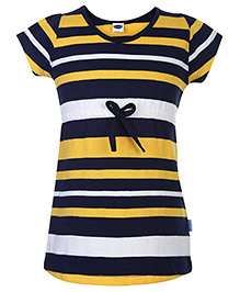 Teddy A Line Frock Short Sleeves Stripe Print - Yellow And Navy Blue