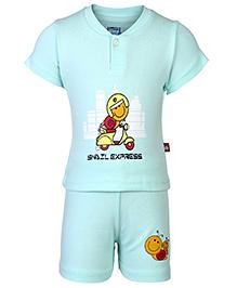 Bumchums Half Sleeves T-Shirt And Shorts - Snail Express Print