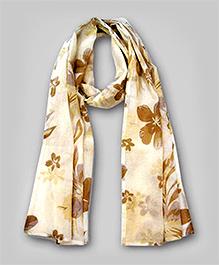 Floral Print Scarf- Brown