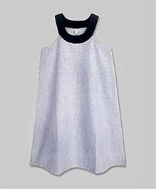 Dim Gray Striped Yoke Dress