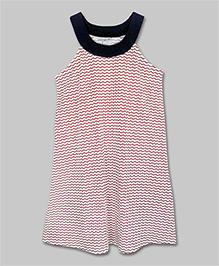 Red & White Striped Yoke Dress