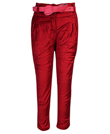 Little Kangaroos Pleated Trouser With Belt - Velvet Texture