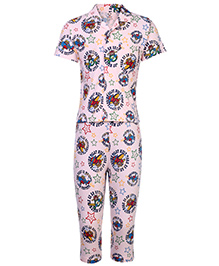 Fido Full Sleeves Night Suit Pilot Print - Peach