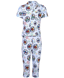 Fido Full Sleeves Night Suit Pilot Print - Light Blue