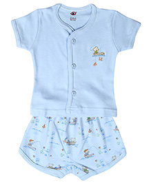 Zero Half Sleeves Shirt And Shorts Set Teddy Embroidery - Blue