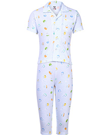 Fido Full Sleeves Night Suit Ship Print - Sky Blue