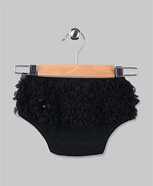 Chiffon Ruffled Baby Bloomer - Black