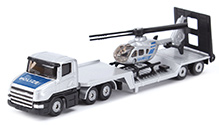 Siku Low loader With Helicopter - Silver