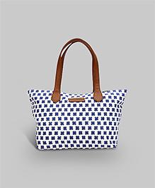 Petal Printed Tote Bag - White And Blue