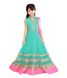 K&U Long Squinned Anarkali Dress With Dupatta