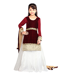 K&U Full Sleeve Choli And Lehenga With Dupatta - Sequins Work