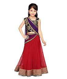 K&U Sleeveless Choli And Lehenga With Dupatta - Aari Work