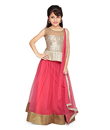 K&U Sleeveless Choli And Peplum Lehenga With Handkerchief Stohl