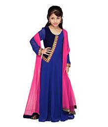 K&U Full Sleeve Anarkali Suit With Dupatta - Golden Lace Work