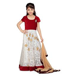 K&U Short Sleeve Anarkali Suit With Dupatta - Thread Work