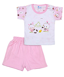 Pink Rabbit T-Shirt Short Sleeves And Shorts Set - Little Print