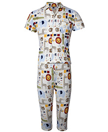 Teddy Half Sleeves Night Suit Animal Print - Front Open