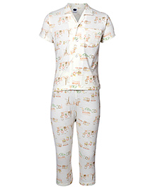 Teddy Half Sleeves Night Suit Multi Print Off White - Front Open